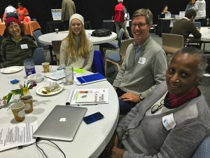 Donna Marcantonio, Kate Hanson Sundberg, and Rolf Hanson (Sarasota Monthly Meeting) and Beverly Ward (Tampa Monthly Meeting) at the Florida InterFaith Climate Assembly