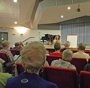 """""""Active Peace: Friends Ministry of Hope in a Despairing World"""" with Bridget Moix. photo:Bill Carlie"""