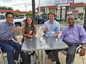 Joe Aguto and Emily Wirzba join Kody Hersh and Paul Mondesir (Miami AFSC) for Cuban coffee between legislative lobby appointments. Kody happened to be passing through Miami on his way to Cuba for the FUM board meeting and cheerfully agreed to accompany us. photo: Kathy Hersh