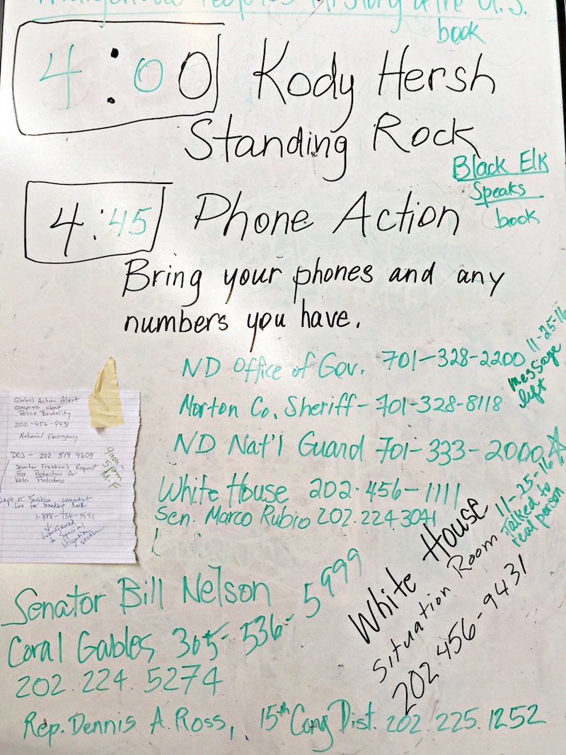 White Board At The Phone Action To Support Standing Rock Water Protectors. Photo: V. Carlie